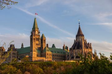 Parliament Hill in Ottawa, Canada in the evening