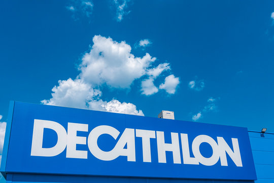 Vilnius, Lithuania July 21, 2019 - Decathlon sign on a store wall. Decathlon is largest sporting goods retailer in the world