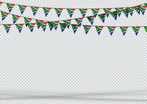 Bunting Hanging Banner South Africa Flag Background