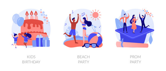 Children anniversary celebration, summer season discotheque, school graduation ball icons set. Kids birthday, beach party, prom party metaphors. Vector isolated concept metaphor illustrations