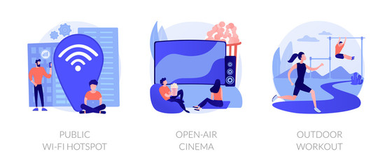 Entertainment and recreation flat icons set. Outside pastime, active lifestyle. Public wi-fi hotspot, open-air cinema, outdoor workout metaphors. Vector isolated concept metaphor illustrations.