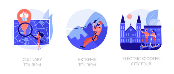 Adventure touristic activities, recreation, broadening horizons. Culinary tourism, extreme tourism, electric scooter city tour metaphors. Vector isolated concept metaphor illustrations.