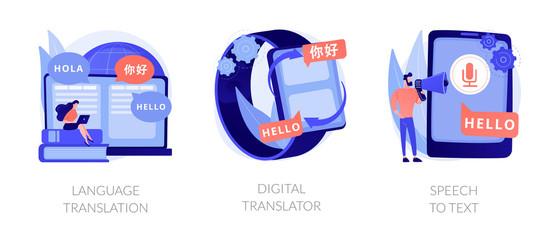 MT mobile application, multilingual communication, voice recognition app. Language translation, digital translator, speech to text metaphors. Vector isolated concept metaphor illustrations.