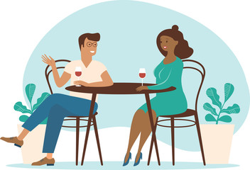 Young multiracial couplespend time in cafe summer terrace talking drinking wine. Flat vector characters