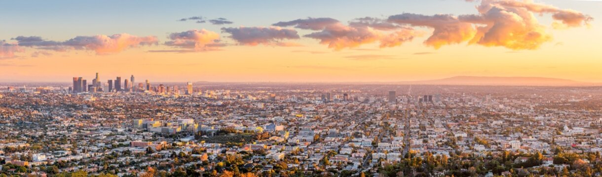 Los Angeles skyline during sunset as seen from behind the Griffith Observatory in Griffith Park.