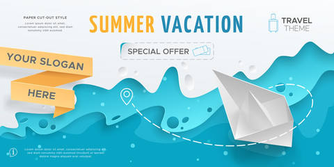 Horizontal travel banner with scene with paper waves and 3D realistic origami boat. Vector layout in paper cut style with toy ship for design of flyers and leaflets. Carving art with blue background.
