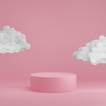 3D Pink podium display with clouds. Sky and heaven concept for product promotion with copy space. Tube pedestal minimalist trendy template.  3D render mockup illustration.