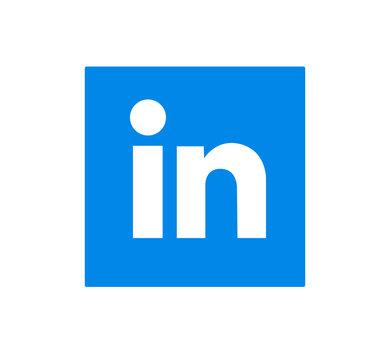 Linkedin logo sign on white background. Linkedin is a business social networking service. Kharkiv, Ukraine - May 26, 2020