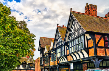 Traditional English Tudor architecture houses in Chester, England Fotomurales