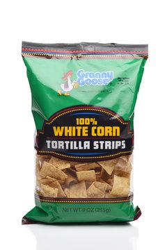 IRVINE, CALIFORNIA - 25 MAY 2020: A bag of Granny Goose White Corn Tortilla Strips.