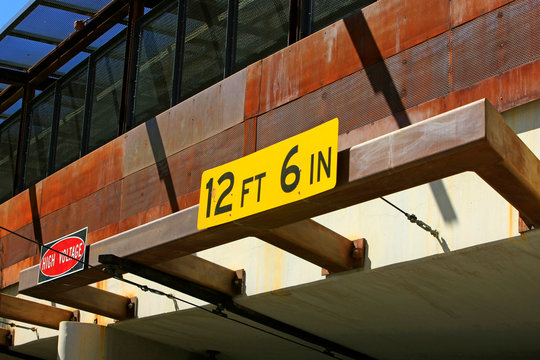 12ft 6in yellow sign above a tunnel entrance in downtown Tucson, AZ