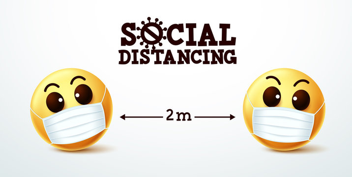 Emoji social distancing vector sign. Emoji smiley wearing face mask with social distancing text instruction to prevent covid-19 coronavirus infection. Vector illustration.