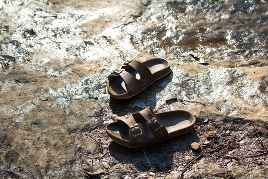 Sandals on wet ground in the sun