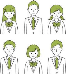 手描き1color 現役高校生中学生の男女 ブレザー 上半身 6人