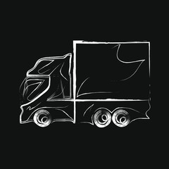 Car sport truck logo icon silhouette white sketch Hand drawn doodle prototype Modern design Fashion print clothes apparel greeting invitation card picture banner badge poster flyer websites Vector