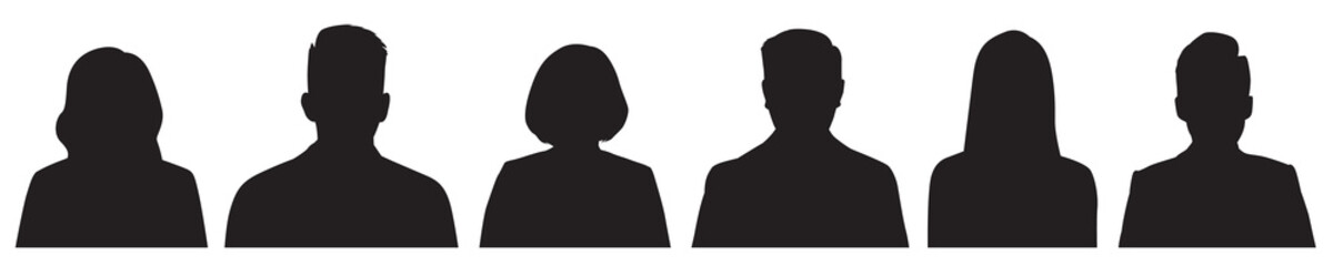 Set of vector avatar profile icon in silhouettes.