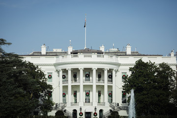 The White House in Washington, DC during the festive Season decorated with Christmas Wreaths