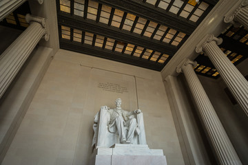 Washington DC, USA - 22 Dec 2019: Inside the Abraham Lincoln Memorial - Wide Angle Shot