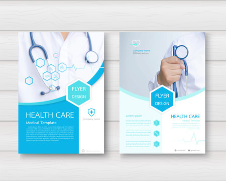 Healthcare cover, template design and flat icons for a report and medical brochure design, flyer, leaflets decoration for printing and presentation. vector illustration