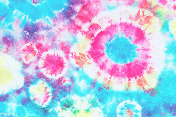 tie dye pattern hand dyed on cotton fabric abstract texture background. Fotobehang