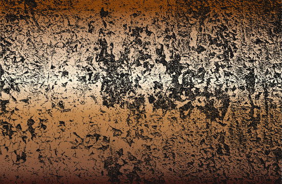 Distressed overlay texture of rusted peeled golden metal plate. grunge background.