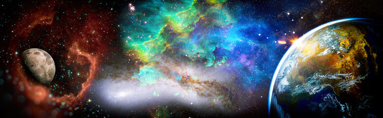 The Earth from space. Earth planet viewed from space.Bright Star Nebula. This image elements furnished by NASA.
