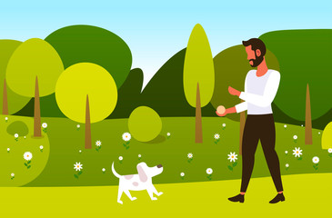 young man walking with dog outdoors at park guy relaxing with pet spring time concept horizontal full length vector illustration