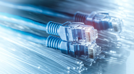 Ethernet cable lan internet wire data connection. Networking and communication Fotobehang