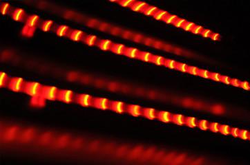 Diagonal flashing red neon lights