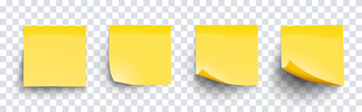Realistic set sticky note yellow colors isolated on transparent background. Mockup blank yellow sticky notes with shadow for your design. Vector illustration EPS10