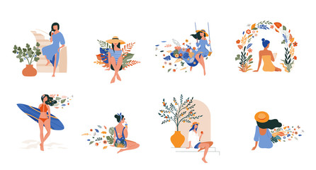 Fototapeta Vacation mood, feminine concept illustration, beautiful women in different situations, on the beach, sitting near the pool, reading books. Flat style vector design obraz