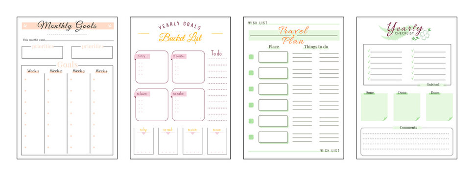 Goals and wishes minimalist planner page set. Monthly priorities. Habit track weekly. Travel and trip plan. Bucket list personal organizer printable sheet layout. Vertical insert for diary