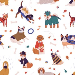Colorful joyful dog wearing funny costumes seamless pattern. Cute pet of different breed in apparel vector flat illustration. Domestic animals dressed in various clothes on white background