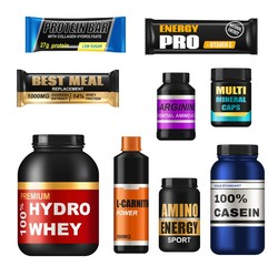 Sport nutrition realistic jars, isolated 3d vector protein supplements. Set of sports food bottles and low sugar protein bars. Fitness nutrition, vitamines, l-carnitne, caseine capsules and hydro whey
