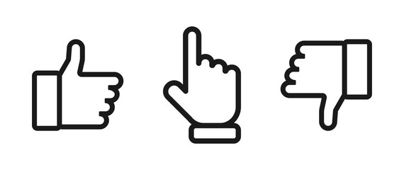 Thumbs up and down with pointing finger. Like and dislike vector icons, isolated. Like or Thumb up and down with pointing finger in linear design. Thumb up. Like. Dislike icon. Vector illustration