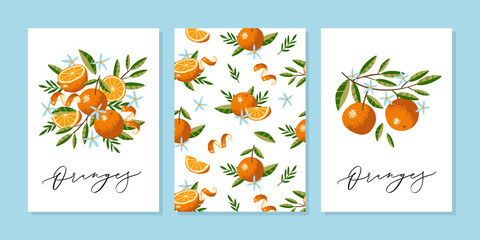 Vector greeting card or wedding invitation template with Oranges, Flowers and Leaves in hand drawn style with vector calligraphy text.