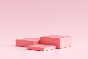 Pink product display or showcase pedestal on simple background with cube stand concept. Pink studio podium or platform product template. 3D rendering. - fototapety na wymiar