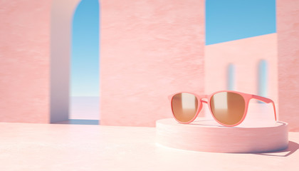 3d rendered illustration of modern pink sunglasses presentation, space for text