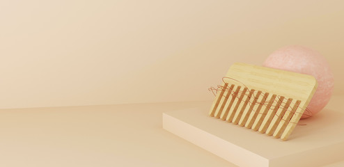 3d rendered illustration of hair loss concept. Hair comb with damaged hair , space for text