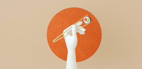 3d rendered illustration of hand holding sushi rolls with chopsticks