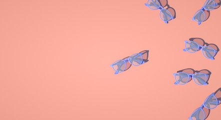 3d rendered illustration of optical eyeglasses collection on pink background. space for text