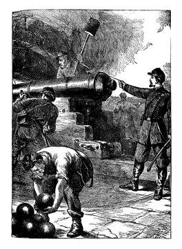 Defense at Fort Sumter, vintage illustration.