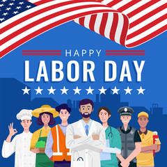 Happy Labor Day. Various occupations people standing with American flag. Vector