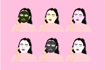 Girl with various face mask for beauty / skincare.