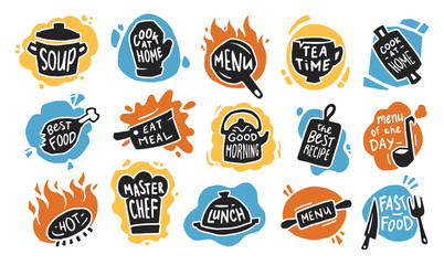 Food typography flat icon set. Graphic chalk logo, emblems and badges for recipe, menu, bar, bistro or cafe isolated vector illustration collection. Kitchen and restaurant concept