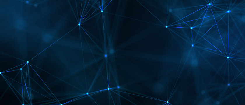 Abstract futuristic - technology with polygonal shapes on dark blue background. Design digital technology concept..