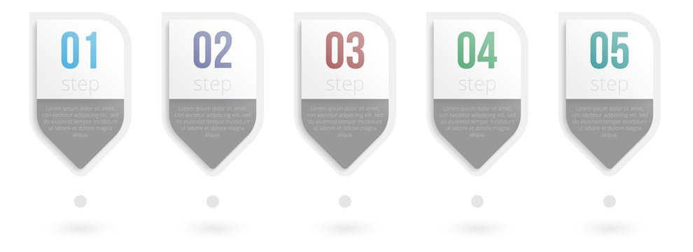 Infographic stage. Business data element with 5 step process. Horizontal evolution stage option layout. Five infograph timeline option with simple design template on white background