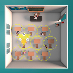 Classrooms, new arrangements for classrooms to maintain proper social distancing. Precautionary measures against covid-19, coronavirus. Methods of access to school classes. 3d render