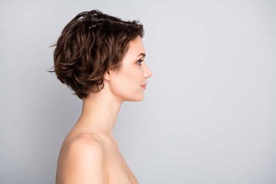 Closeup profile photo of attractive beautiful naked lady bob short hairstyle look empty space sensual aesthetic beauty isolated grey color background