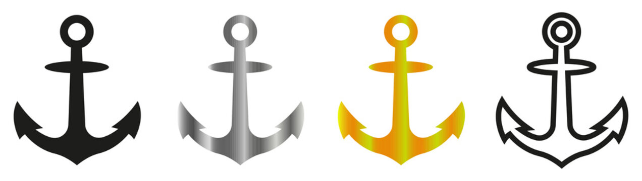 Anchor. Simple anchor icon. Anchor for apps and web sites. Anchor set